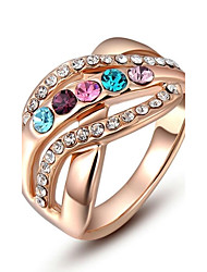 cheap -Christmas Gift Classic Genuine Austrian Crystals Rose Gold Plated Colorful Stones Ring Jewelry Party OFF