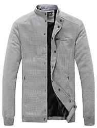 Недорогие -Мужской Смесь хлопка Куртка На каждый день,Контрастных цветов,Длинный рукав