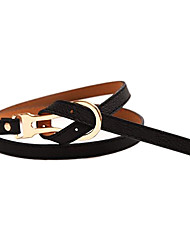 Women's New Summer Candy Color Tie Metal Leather Belt