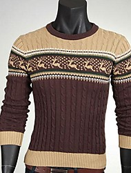 economico -Men's Korean Style Slim Fawn Jacquard Sweater