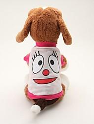 baratos -Cachorro Camiseta Roupas para Cães Desenho Animado Azul Rosa claro Algodão Ocasiões Especiais Para animais de estimação Homens Mulheres
