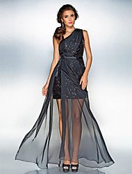 Sheath / Column One Shoulder Floor Length Chiffon Sequined Prom Dress withSash / Ribbon Side Draping Split by TS Couture®