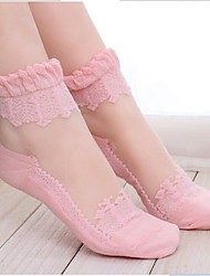 cheap -Women's Fashion Solid Colored Lace Perspective Socks Black Pink Sheer