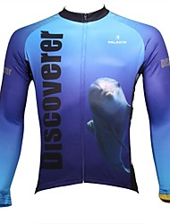 baratos -ILPALADINO Homens Manga Longa Camisa para Ciclismo - Branco + céu azul Animal Moto Camisa / Roupas Para Esporte, Secagem Rápida,