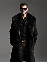cheap -Men's Fashion Long Fur Coat,Solid Lapel collar Long Sleeve Winter Faux Fur