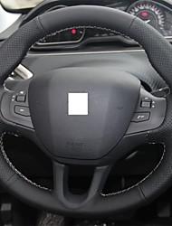 billige -Xuji ™ sort ægte læder rat dækning for Peugeot 208