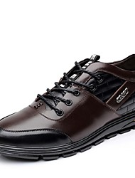 Men's Oxfords Spring Summer Fall Winter Comfort Leather Office & Career Casual Flat Heel Lace-up Black Brown
