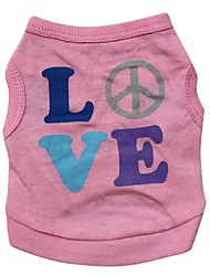 cheap -Cat Dog Shirt / T-Shirt Dog Clothes Letter & Number Pink Cotton Costume For Pets