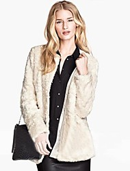 preiswerte -Women's Elegant Faux Fur Long Sleeve Coat