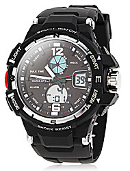 cheap -Men's Sport Watch Alarm / Calendar / date / day / Chronograph Rubber Band Black / Dual Time Zones