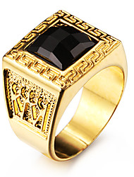 Men's Statement Rings Black Gemstone Love Personalized Costume Jewelry Stainless Steel Acrylic Gold Plated 18K gold Square Geometric