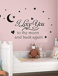 economico -Wall Stickers Wall Decals, I Love You to The Moon PVC Wall Stickers