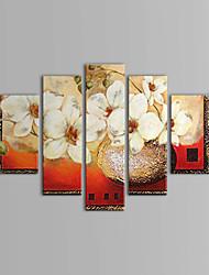 手描きの 花柄/植物の 5枚 キャンバス ハング塗装油絵 For ホームデコレーション