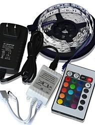 Недорогие -24w 5м 300x5050 SMD RGB гибкие светодиодные полосы света + 24key дистанционного управления + 2а питания (AC110-240V)