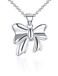 cheap -Fine Jewelry 925 Sterling Silver Jewelry Bow-knot Pendant Necklace for Women