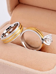 cheap -Women's Couple Rings Gold/Silver Titanium Steel Gold Plated Round Wedding Party Daily Casual Costume Jewelry