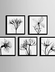 cheap -Floral/Botanical Framed Canvas Framed Set Wall Art,PVC Material Black No Mat With Frame For Home Decoration Frame Art