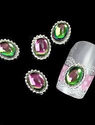 abordables -10pcs colorfull piedra aleación oval con artes de uñas bricolaje decoración del arte