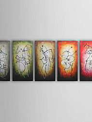 Hand-Painted AbstractModern / Traditional Five Panels Canvas Oil Painting For Home Decoration