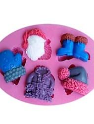 billige -julen claus tøj handsker sko hat fondant kage chokolade silikone forme kage dekoration værktøjer, l11cm * w7.5cm * h1.2cm