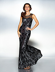 cheap -Sheath / Column Scoop Neck Floor Length Lace / Tulle / Sequined Sparkle & Shine / Open Back / See Through Formal Evening Dress with Crystals by TS Couture®