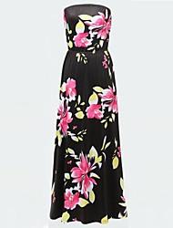 plus size cópia da flor vestido maxi partido sexy das mulheres