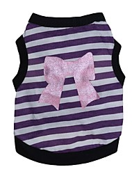 cheap -Cat Dog Shirt / T-Shirt Dog Clothes Stripe Heart Purple Pink Cotton Costume For Pets