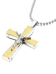 economico -Gesù di spessore in lega di zinco collana pendente Crocifisso Croce oro argento