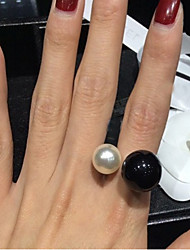 cheap -Women's Pearl Imitation Pearl Resin Black Pearl Alloy Statement Ring - Open Birthstones Adjustable White Black Ring For Wedding Party