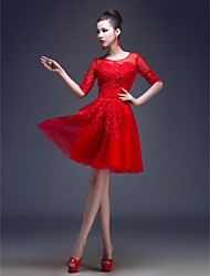 A-Line Princess Jewel Neck Knee Length Tulle Cocktail Party Dress with Beading