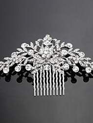 cheap -Crystal Cubic Zirconia Fabric Alloy Tiaras Hair Combs Flowers 1 Wedding Special Occasion Party / Evening Headpiece