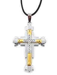 Недорогие -Ожерелье Ожерелья с подвесками Бижутерия Повседневные Новогодние подарки Крестообразной формы Сплав Кожа Подарок Черный