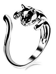 baratos -Mulheres Anel de declaração cuff Anel - Liga Gato, Animal Personalizada, Amor, Estilo bonito 8 Prata Para Casamento Festa Presente