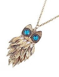 Women's  Gold Leaf Owl Long Necklace