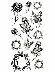 cheap -1pc Black Rose Butterfly Waterproof Tattoo Sample Mold Temporary Tattoos Sticker for Body Art(18.5cm*8.5cm)