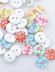 floral album scraft coudre des boutons en bois de bricolage (10 pièces couleur aléatoire)