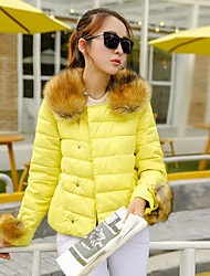 cheap -Yalun®New Fashion Women'S Raccoon Fur Collar Slim Down Jacket