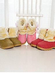 cheap -Girl's Boots Spring Fall Winter Snow Boots Comfort Faux Suede Casual Low Heel Brown Pink Red