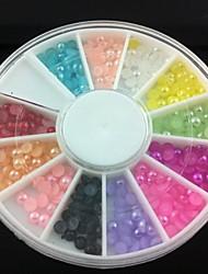 abordables -Demi-cercle de 3 mm perle colorée nail art décorations