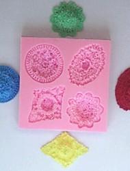 baratos -quatro furos de ferramentas de decoração do bolo de flores fondant de chocolate silicone bolo molde, l10.5cm * w9.5cm * h1.2cm