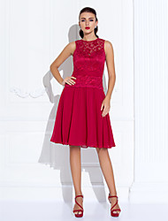 A-Line Jewel Neck Knee Length Chiffon Lace Cocktail Party Homecoming Holiday Dress with Lace Pleats by TS Couture®