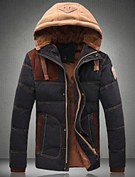 cheap -Men's Color Matching Hooded Cotton-Padded Clothes Coat