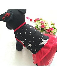 cheap -Dog Dress Dog Clothes Stars Black Red Cotton Mixed Material Costume For Pets Women's Casual/Daily