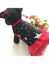 abordables -Chien Robe Vêtements pour Chien Etoiles Noir Rouge Coton Matériel mixte Costume Pour les animaux domestiques Femme Décontracté / Quotidien