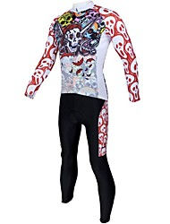 ILPALADINO Cycling Jersey with Tights Men's Long Sleeves Bike Clothing Suits Quick Dry Breathable 100% Polyester Skulls Spring Summer