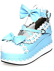 Lolita Shoes Sweet Lolita Princess Platform Shoes Bowknot 7 CM Pink Blue For PU Leather/Polyurethane Leather
