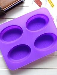 4 fori muffa gelatina tortiera forma di ellisse gelato al cioccolato, silicone 22.3 × 17 × 2 cm (8,8 × 6,7 × 0,8 pollici)