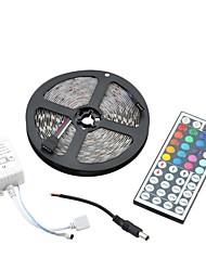 cheap -60W 1500lm  5050 300-SMD RGB Decoration Light Strip w/ 44-Key Remote Controller - White (5m)