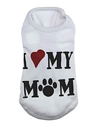 cheap -Cat Dog Shirt / T-Shirt Dog Clothes Heart Letter & Number White Terylene Costume For Pets