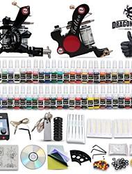 Недорогие -DragonHawk машины татуировки комплекты с 2 машин из нержавеющей стали татуировки и 54 цветов по 5 мл чернила татуировки